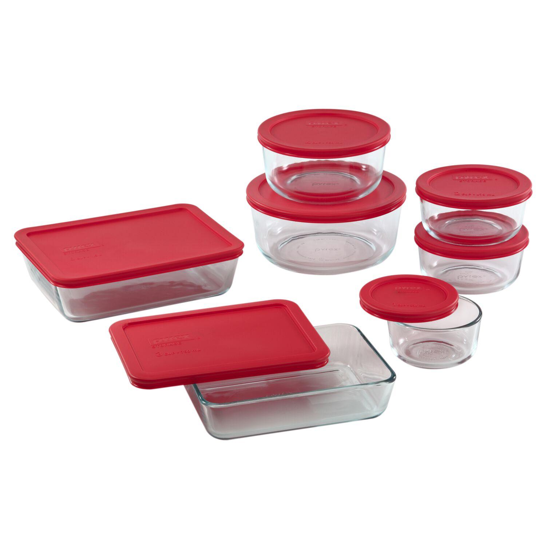Pyrex® Simply Store® 14pc Set Red Lids | Shop World Kitchen